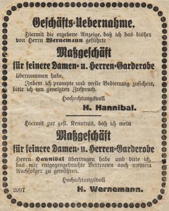 """Übernahme des Maßgeschäftes """"Wernemann"""""""