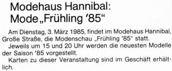 Ankündigung Modenschau 1985