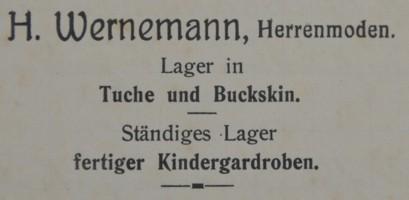 Briefkopf von Heinrich Wernemann