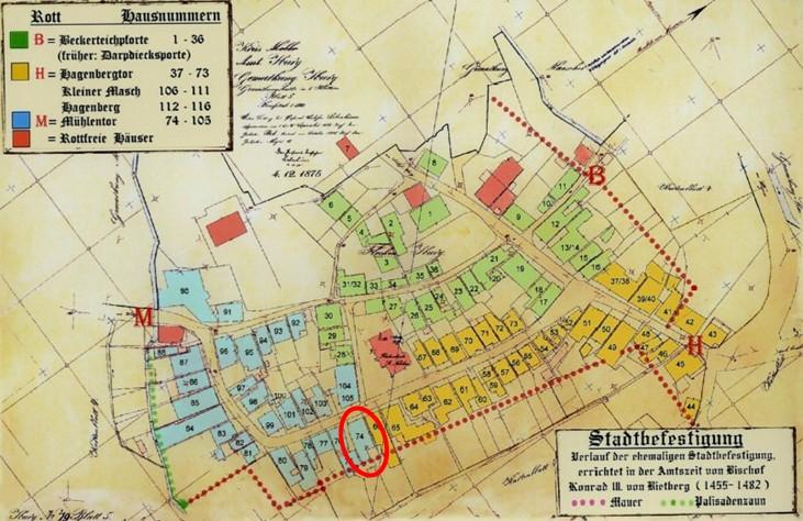 Plan vom 04. Dezember 1875 (rot eingekreist: Haus Nr. 74)