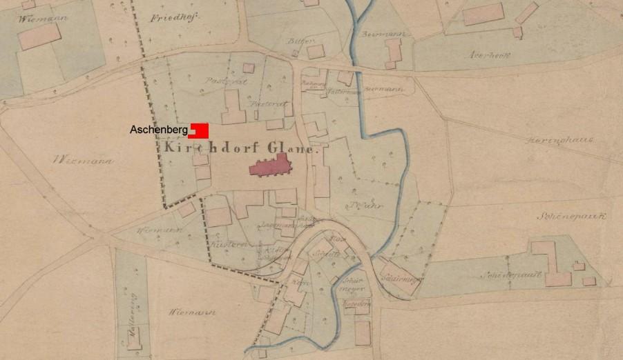 Lage des Kirchhöfers Aschenberg (rot markiert)