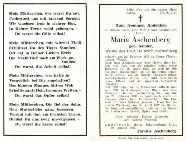 Totenzettel von Maria Aschenberg, geb. Sander