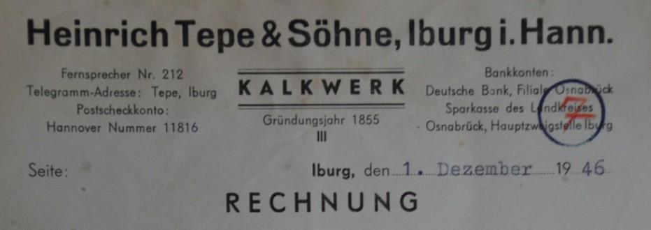 Rechnung vom 01.12.1946