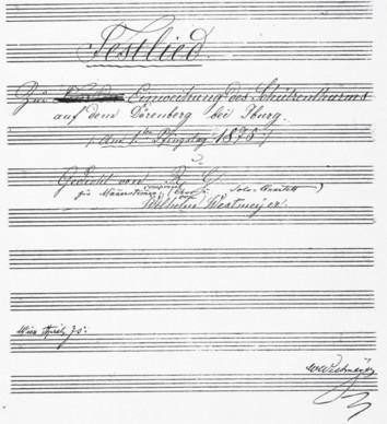 """Titelblatt des in Wien geschriebenen Chorwerks """"Festlied"""""""