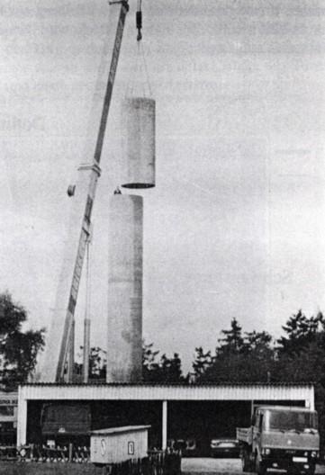 Aufbau des Stahlbetonmastes 1981