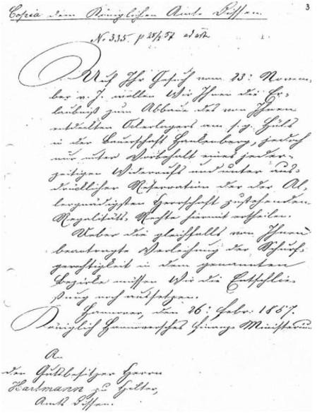 Abbau-Erlaubnis vom 26.02.1857