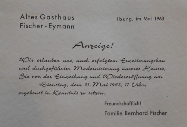 Anzeige zur Wiedereröffnung im Mai 1963