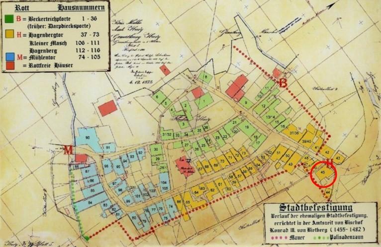 Plan vom 04. Dezember 1875 (rot eingekreist: Haus Nr. 45)