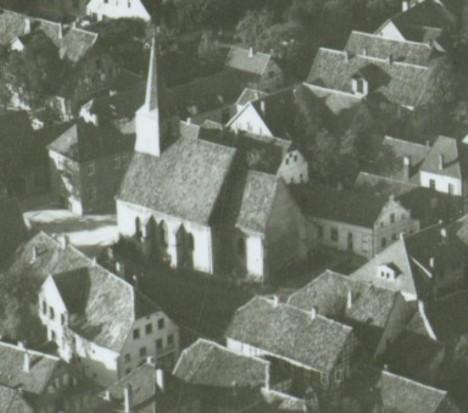 Luftbild der Fleckenskirche vom 18. März 1930