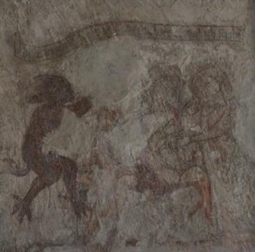 Freske mit einer Teufelsszene, 13. Jahrhundert