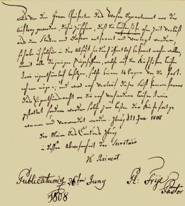 Verkündung vom Pastor Placidus Frye zum Entfernen der Grabsteine vom 26. Juni 1808