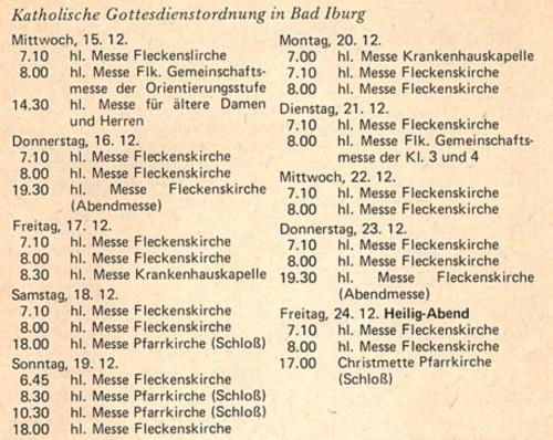 Gottesdienstordnung Dezember 1976