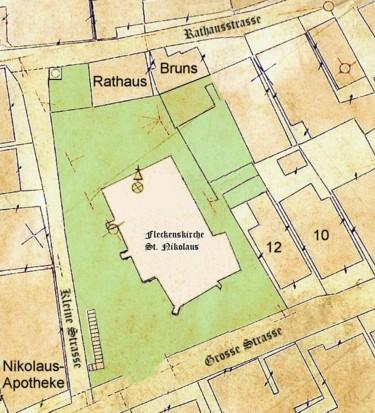 Plan von 1875 - mittig die Fleckenskirche