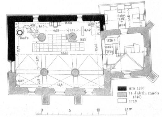 Grundriss der Fleckenskirche von Dr. Wilhelm Jänecke, um 1920