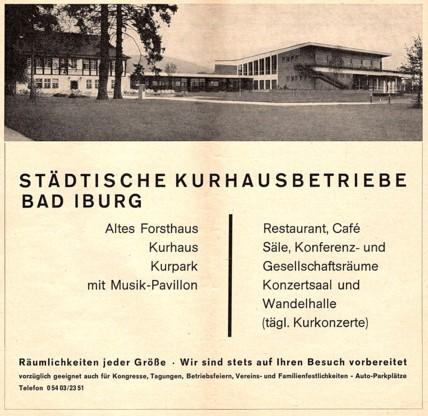 Altes Forsthaus, Wandelhalle und Kurhaus (von links nach rechts), 1969