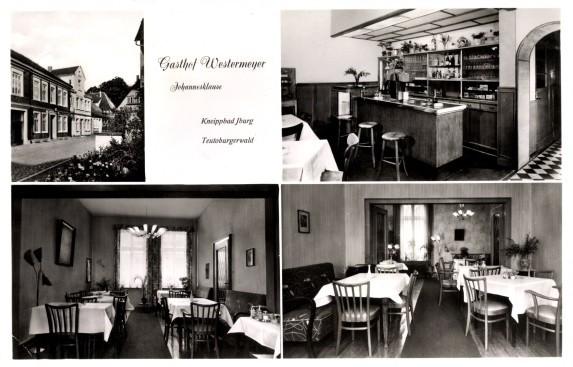 Ansichtskarte mit Innenansichten von Gasthof und Pension Westermeyer, Inh.: Maria Düster