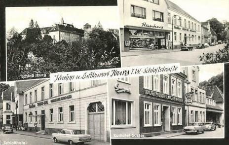 Ansichtskarte mit Ansichten der Schloßstraße (mittig unten rechts: Gasthaus Düster)