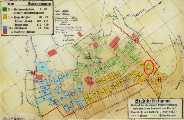 Plan vom 04. Dezember 1875 (rot eingekreist: Haus Nr. 39/40)