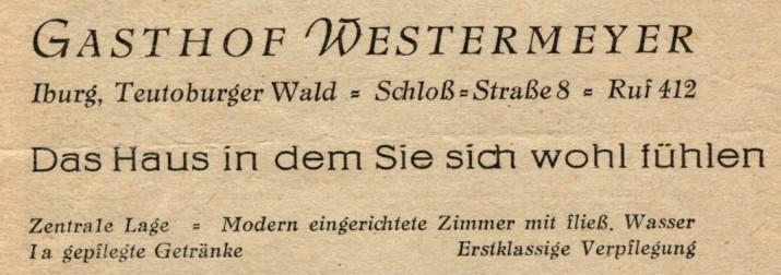 Werbung im Unterkunftsverzeichnis 1952 des Luftkurortes Iburg T.W.