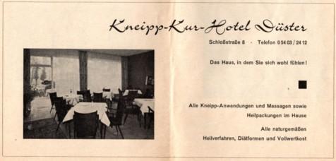 Werbung im Unterkunftsverzeichnis Bad Iburg 1969