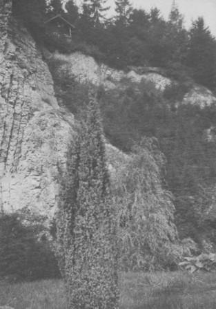 Blick auf den Steinbruch mit Blockhütte