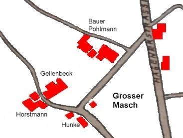 Lageplan des Hofes Pohlmann im Januar 1958