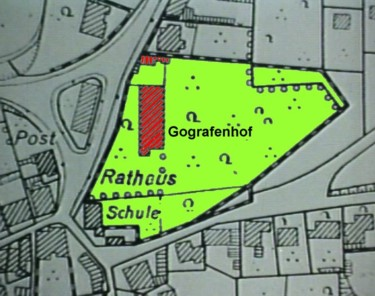 """Ausschnitt aus dem Bebauungsplan """"Ortszentrum"""" mit dem Gografenhof"""