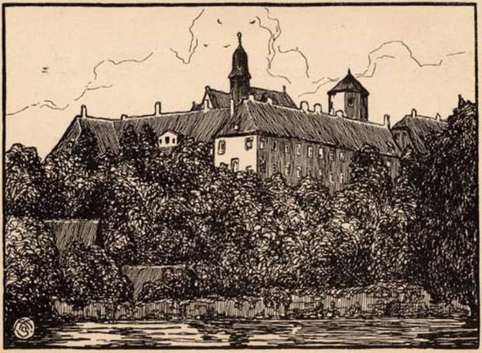"""Künstlerkarte """"Schloß Iburg"""" nach einer Federzeichnung von Hans Hasekamp aus dem Jahr 1919"""
