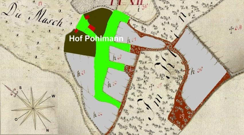 Detailkarte mit den Besitzungen des Hofes Pohlmann (h)