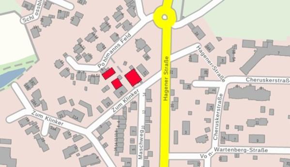 Lage des Hofes im Jahre 1895 (rot), projeziert in einen aktuellen Lageplan