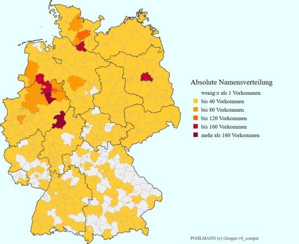 """Die absolute Namensverteilung """"Pohlmann"""" im Jahre 2007"""