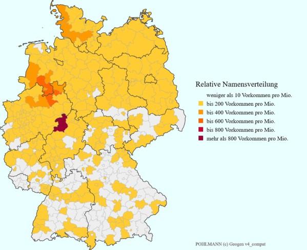 """Die relative Namensverteilung """"Pohlmann"""" im Jahre 2007"""