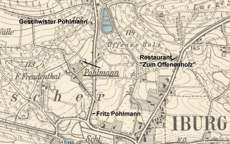 Hof Pohlmann und weitere Familienstämme auf dem Meßtischblatt 3814 (Iburg)