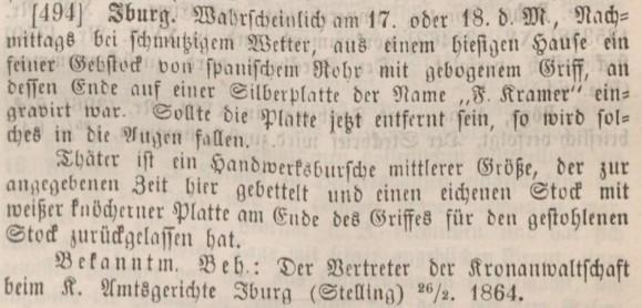 Diebstahl eines Gehstockes aus dem Gografenhof im Februar 1864