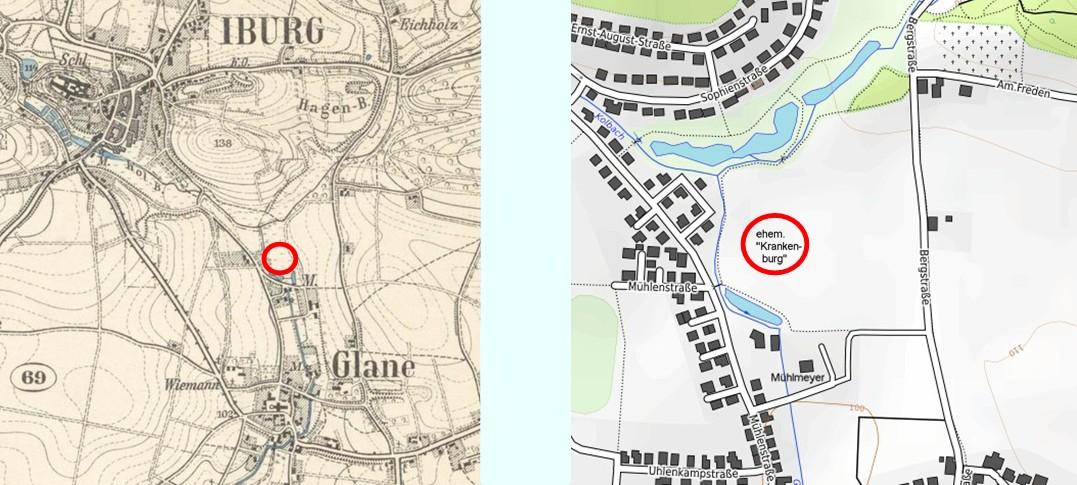 """Lage der ehem.""""Krankenburg"""" (rot umkreist), heute Teil des Hochwasserrückhaltebeckens"""