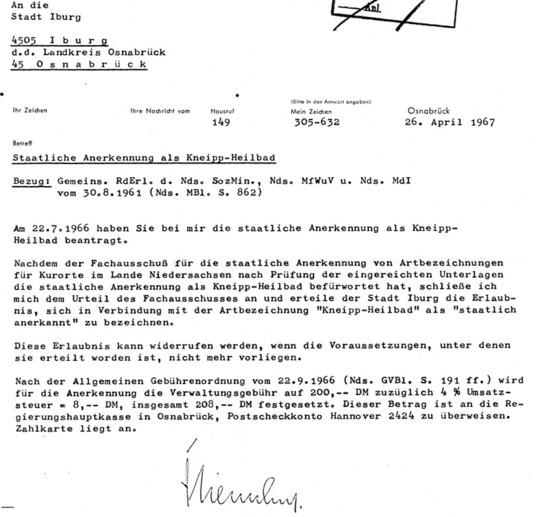 Erlass zur staatlichen Anerkennung als Kneipp-Heilbad vom 26. April 1967