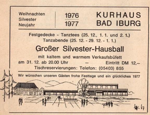 Gewerbliche Anzeige zum Großen Silvester-Hausball im Kurhaus 1976/77