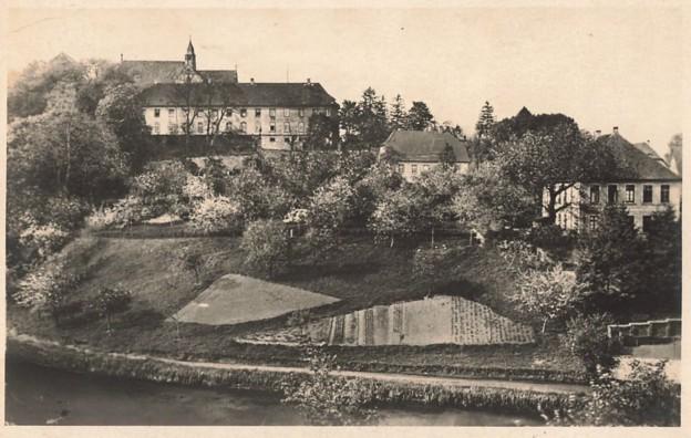 Ansichtskarte, gelaufen 1937, mit dem Haus Lamby (Mitte rechts)