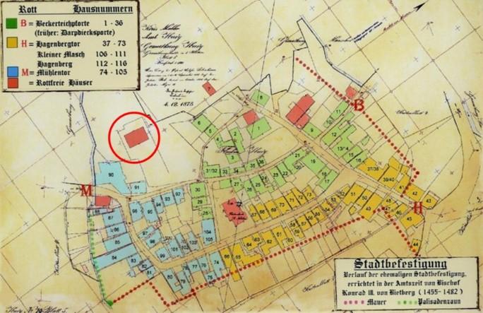 Plan vom 04. Dezember 1875 (rot eingekreist: Haus Lamby)
