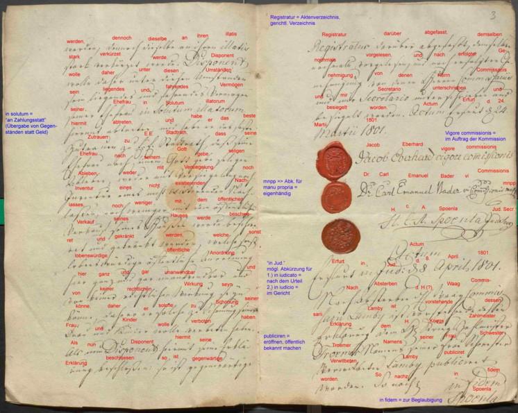 Letzte Seite des Testamentes von Sebastian Lamby mit Transkription (rote und blaue Schrift)