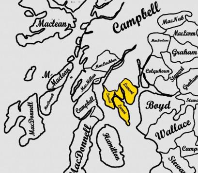 Lage der schottischen Clans in Südschottland
