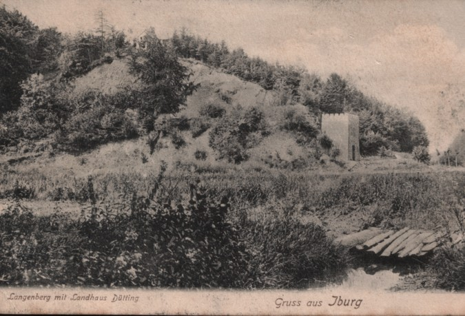 Landhaus Dütting auf einer Postkarte, gelaufen 27.07.1908