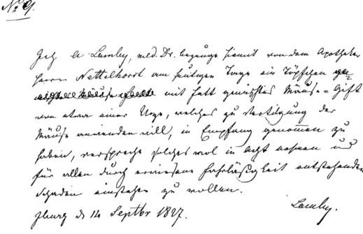 Giftschein Nr. 9 aus dem Jahre 1827