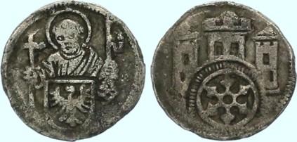 Pfennig aus der Regierungszeit von Konrad IV. von Rietberg, um 1489