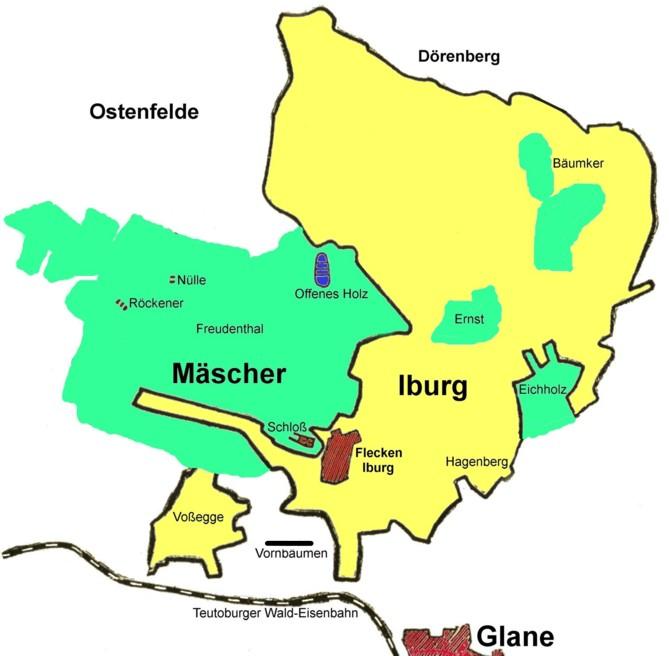 Übersichtskarte zum Zusammenschluss von Iburg (gelb) und Mäscher