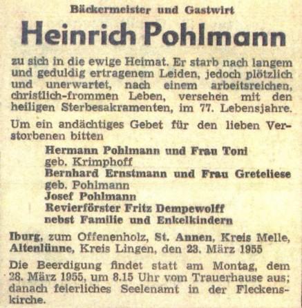 Todesanzeige von Heinrich Pohlmann aus dem Jahr 1955