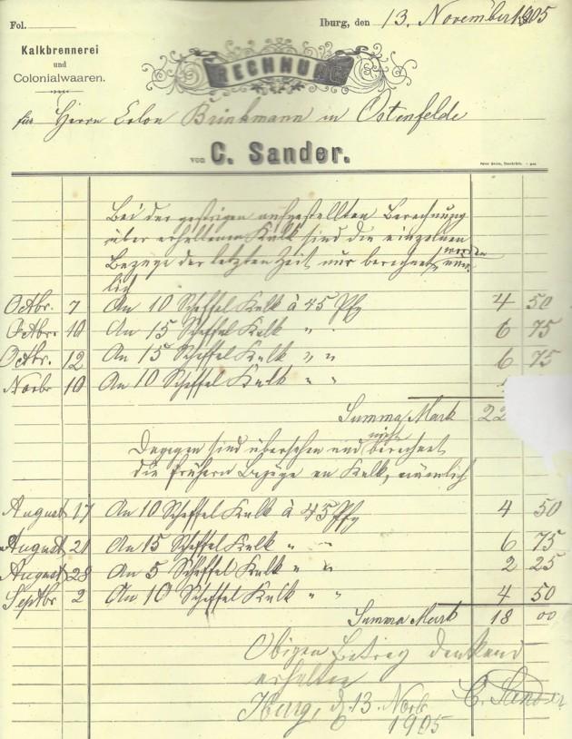 Rechnung vom 13. November 1905