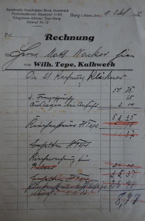 Rechnung vom 10.10.1932