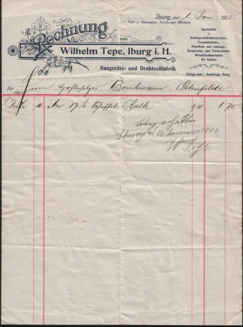 Rechnung aus dem Jahre 1905