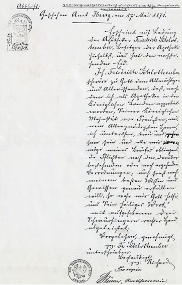 Abschrift der Original-Vereidigung vom 17.05.1871